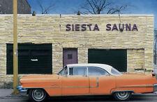 Siesta Sauna 1950s Cadillac Hand Colored Photo Car Art garage art decor detroit