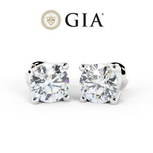 Last Piece - GIA Certified 1.06Ct Round Diamond Stud Earrings in 18k White Gold