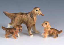 Vintage Set of 3 Bone China Miniature Irish Setter Family Dog Figurines Japan