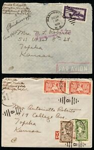 Indochina stamps used on covers to Kansas (but postmarked in Washington DC)