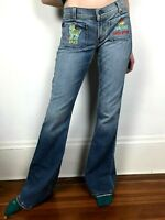 Juicy Couture Flare Jeans 28 Embroidered Aries Distressed Hippie Boho 70s Vibe