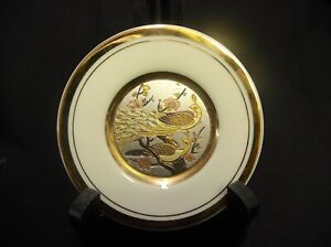 "THE ART OF CHOKIN DECORATIVE PLATE 24K GOLD EDGED PEACOCKS BRANCHES 4"" ACROSS JA"