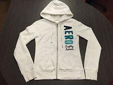 Aeropostale youth hooded hoodie zipper sweatshirt l/s white small