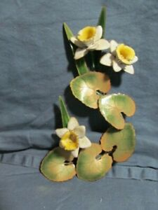 Vintage Bovano of Cheshire Enamel on Copper Daffodil Blossoms Wall Art