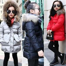 Kinder Mädchen mit Kapuze Warm Mantel gesteppte Winterjacke Pelz Oberbekleidung