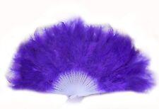 Handheld Large Feather Fan Solid Colour Photoshoot Dance Fancy Dress (Purple)