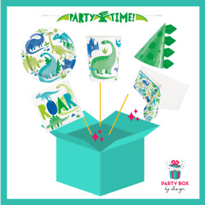 Dinosaur Kids Party Supplies for 16 | Plates, cups, napkins, t/cloth | add items