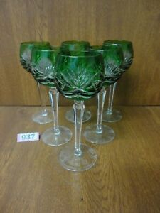 6 x Vintage Nachtmann Emerald Green Cut Crystal Wine / Hock Glasses / Goblets