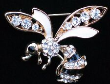 BLACK RHINESTONES STINGER MISQUOTE BUG INSECT FLY BEE WASP PIN BROOCH JEWELRY