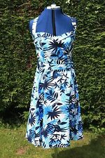 New size 14 Blue & White Tie Halter neck sun dress fitted top floaty skirt
