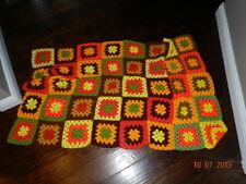 "GRANNY SQUARES AFGHAN BLANKET Handmade Crochet Quilt Throw 62""x39"" VINTAGE"