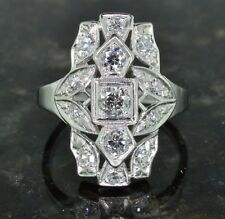 Old European Cut Diamond Elongated Filigree Ring Art Deco Gatsby 1920s