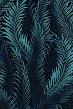 Fabric #2529, Blue Fern Leaves on Black, Jason Yenter, IBF, Sold by 1/2 Yard