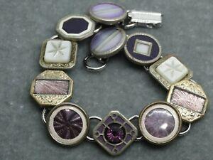 ART Deco Cufflink Bracelet : lavender and liliac