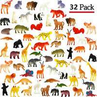 Animal Toy, 32 Pack Mini Wild Plastic Animals Models Toys Kit, Jungle Realistic