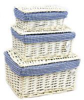Wicker Storage Lidded  Xmas Hamper Basket With Blue Lining In small,medium,Large