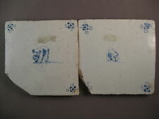 2 Antique Dutch Tiles African / Indian Elephant Tile 17th century free shipping