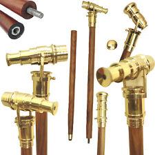 Vintage Brass Telescope Wooden Walking Stick Folding Spyglass Polish Handle