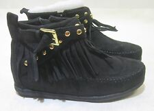 new  black flat comfortable sexy ankle boots  frill/Gold stud   size   11