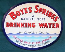 "Boyes Hot Springs California vintage ""Natural Soft"" Drinking Water Label"