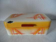 RAR!! Art Deco Emaille Brotdose / Email Brotkasten mit tollem Spritzdekor(A839)X