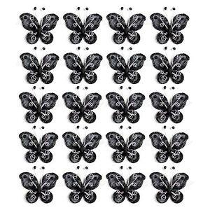 "Lot of 20 PCS 2"" Organza Butterflies Craft Wedding Party Decoration DIY Choose"