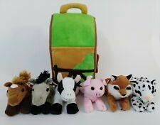 "Plush Todler Play Set 12"" Barn Farm House + 6 Animals Horse Pig Cow Fox Donkey"