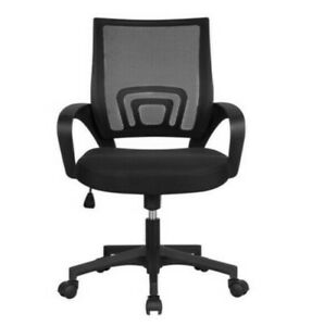 Office Adjustable Mid Back Mesh Swivel Chair with Armrests Black Working Chair