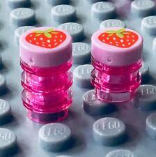 Lego Minifig STRAWBERRY JAM JELLY JARS ~ 2 Minifigures Kitchen Food NEW