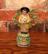 Vintage Staffordshire Shepherdess Girl with Bocage Foliage Porcelain Figurine