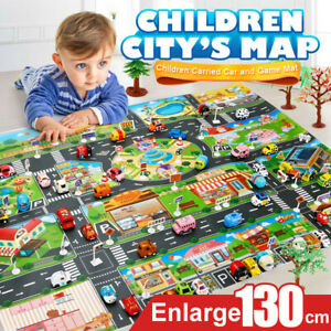 Baby Kids Floor Play Mat Rug Traffic Road Sign Car Track City Carpet Toy Gift US