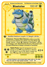 Pokemon Blastoise Gold Base EX GX Star Shadowless Set PKMN Metal Card 2/102 HTF