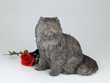 Small/Keepsake 62 Cubic Inches Gray Longhair Cat Resin Urn for Cremation Ashes