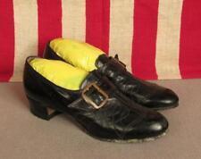 "Vintage 1930s Air Stride Black Leather Heels Buckle Strap Shoes 9 1/2"" Length"