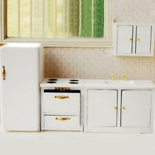 4pcs 1/12 Scale Dollhouse Miniature Furniture Pure White Small Kitchen Set