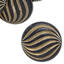 8176 Bead Acrylic Roun Flat Black 30mm PK12 *UK EBAY SHOP*