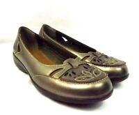 Clarks Womens Bendables Comfort Shoes Heidi Bronze Leather Low Heel Size 5.5 M