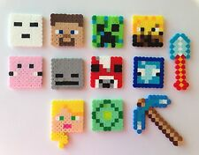 Set of 12 Minecraft Birthday Cake Cupcake Toppers Perler Beads Handmade New