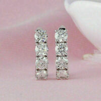 Details about  /2Ct Round Cut Diamond Antique Cluster Drop//Dangle Earrings 14k White Gold Finish