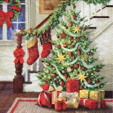 4x PAPER NAPKINS for Decoupage DECORATED STAIRCASE Christmas