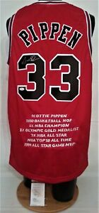 Scottie Pippen	Signed Chicago Bulls Red L Stats Basketball Jersey JSA W275974