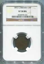 1892 Great Britain Farthing, 1/4 Penny, NGC VF 30 Brown.