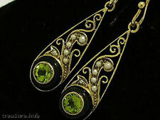 Genuine 9ct SOLID Gold NATURAL Onyx & PERIDOT Filigree Drop Earrings Vintage sty