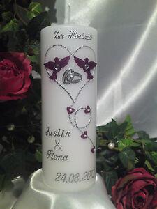 Hochzeitskerze 200/70mm Lila/Silber sehr Edel Top Neu 2013 H006