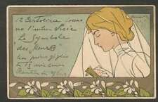 Art Henri Meunier Oranger Woman Praying 1898 Postcard L@@K