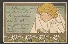 Art Henri Meunier Oranger Woman Praying 1898 Postcard L@@K