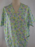 Peaches Scrubs  Womens Scrub Top  Size XL - Purple and Pink Floral Pattern