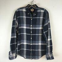 J.Crew Men's Blue Summer Plaid Shirt Long Sleeve Button Up Shirt Size Small