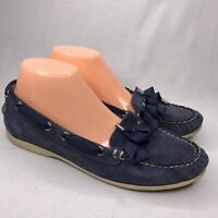 Coach Blue Moccasins Loafers 9B Boat Shoes Slip Ons Suede Leather