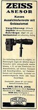 Zeiss Asesor Aussichtsfernrohr mit Geldautomat C.Zeiss Historische Annonce 1929